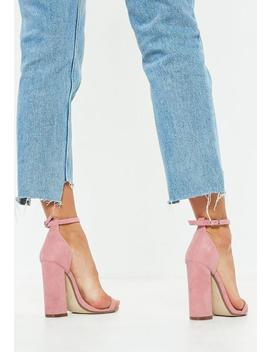 Pink Flared Block Barely There Heels by Missguided