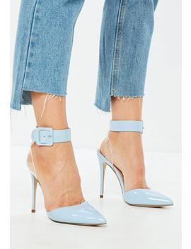 Blue Floating Ankle Open Back Court Heels by Missguided