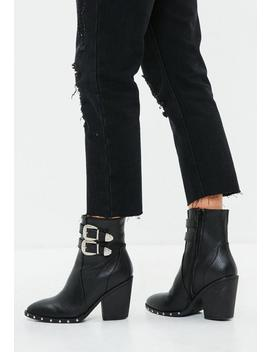 Black Faux Leather Buckle Ankle Boots by Missguided