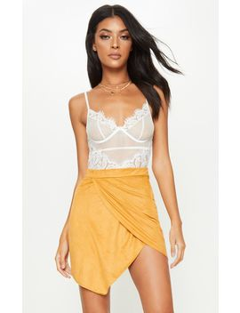 Yellow Faux Suede Wrap Over Mini Skirt by Prettylittlething