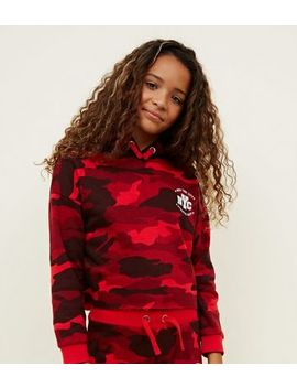 Girls Red Camo Nyc Cropped Hoodie by New Look