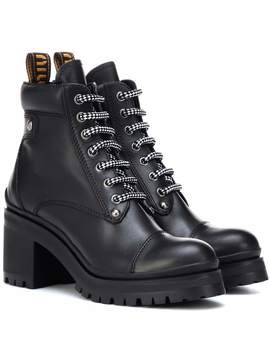 Leather Ankle Boots by Miu Miu