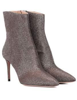 Alma 85 Glitter Ankle Boots by Aquazzura
