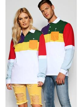 Pride Colour Block Long Sleeve Rugby Top by Boohoo
