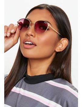 Quay Australia Gold Crazy Love Sunglasses by Missguided