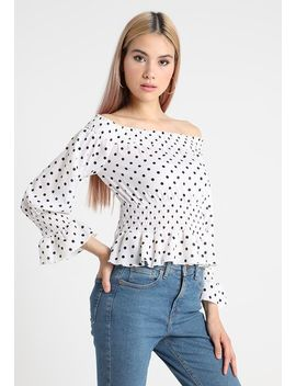 Polka Dot Bardot Long Sleeve   Bluse by Missguided