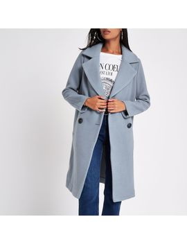 Blue Wool Double Breasted Coat by River Island