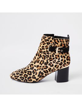 Brown Leopard Print Block Heel Ankle Boots by River Island