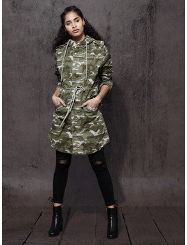 Roadster Women Olive Green & Grey Printed Hooded Longline Parka Jacket by Roadster