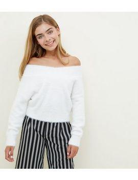 Girls Cream Fluffy Bardot Jumper by New Look