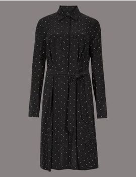 Pure Silk Printed Long Sleeve Shirt Dress by Marks & Spencer