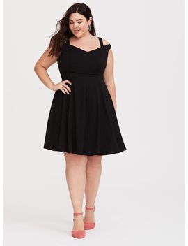 Black Cold Shoulder Skater Ponte Dress by Torrid