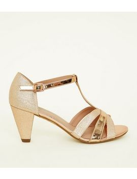 Girls Gold Contrast Glitter Cone Heel Sandals by New Look