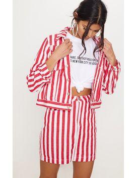 Red Striped Denim Skirt by Prettylittlething
