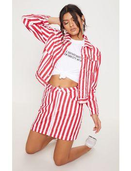 Red Striped Denim Jacket  by Prettylittlething