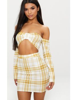Mustard Check Mini Skirt by Prettylittlething
