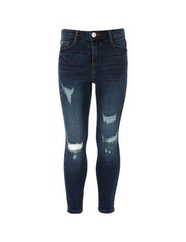 Girls Blue Amelie Ripped Skinny Jeggings by River Island