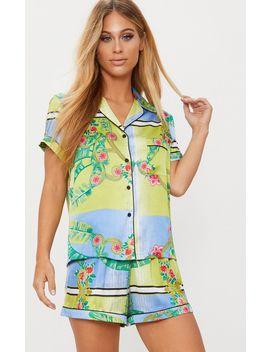 Green Palm Print Button Up Short Pyjama Set by Prettylittlething