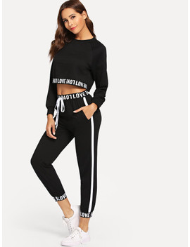 Letter Print Crop Top With Drawstring Pants by Sheinside