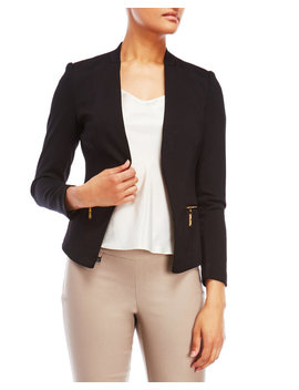 Petite Zip Pocket Open Blazer by Premise Studio