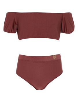 Girls Dark Red Puff Sleeve Bardot Bikini by River Island