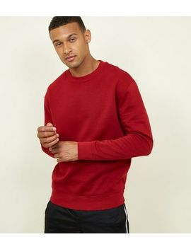 Dark Red Cotton Blend Sweatshirt by New Look