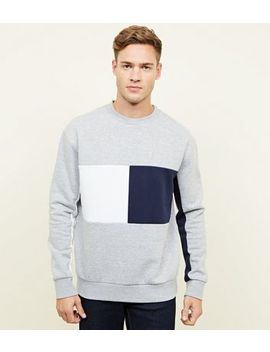 Grey Colour Block Crew Neck Sweatshirt by New Look