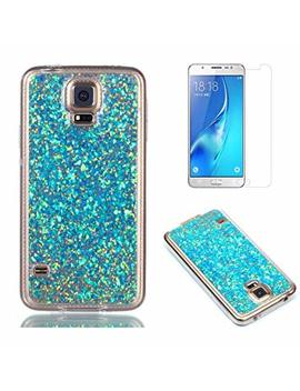 Fit For Samsung Galaxy S5 / S5 Neo Glitter Case With Screen Protector,Oyime [Blue Sequins] Shiny Bling Luxury Design Clear Ultra Thin Soft Rubber Protective Back Cover Transparent Scratch Resistant Drop Protection Bumper by Amazon