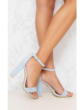Dusty Blue Block Heel Sandal by Prettylittlething