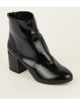 Black Crinkle Effect Ankle Boots by New Look