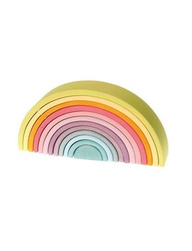 Extra Large 12 Piece Rainbow Tunnel Stacker Toy In Pastel Colors   Wooden Nesting Puzzle For Creative Sculpture Building by Grimm's Spiel And Holz Design