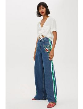 Moto Rose Side Stripe Wide Leg Jeans by Topshop
