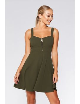 Khaki Zip Front Skater Dress by Quiz