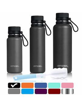 Water Bottles Arteesol 25 Oz/750 Ml Bpa Free Vacuum Insulated 18/8 Stainless Steel Leak Proof Double Walled Wide Mouth Thermos For Sports Gym Workout, Cold Or Hot For 12h [Black] by Amazon