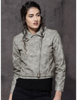 Roadster Women Grey Solid Biker Jacket by Roadster