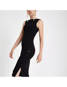 Black Rib Button Side Midi Bodycon Dress by River Island