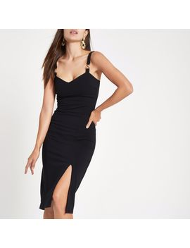 Black Ribbed Buckle Strap Bodycon Midi Dress by River Island