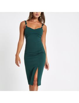 Green Buckle Strap Bodycon Midi Dress by River Island