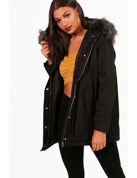 Luxe Faux Fur Hood Parker by Boohoo