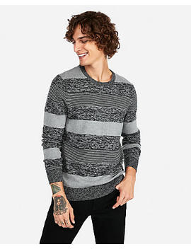 Mixed Stripe Crew Neck Sweater by Express
