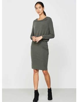 Dark Khaki Ruched Jersey Dress by Mint Velvet