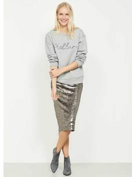 Taupe All Over Sequin Skirt by Mint Velvet