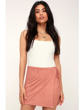 Prue Rusty Rose Suede Wrap Mini Skirt by Lulu's