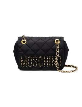 Black Quilted Mini Nylon Shoulder Bag by Moschino