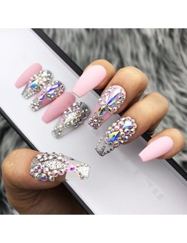 Pink Fearless Silver Swarovski Crystal Nail | Press On Nails | Fake Nails | False Nails | Glue On Nails | Bridal Nails | The Nailest by The Nailest
