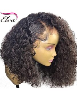 Curly 360 Lace Frontal Wig Pre Plucked With Baby Hair 180 Percents Density Short Human Hair Bob Wigs Brazilian Remy Elva Hair Bob Wig by Elva Hair