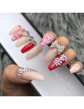 Rose Garden 3 D Crystal Bow Nail | Press On Nails | Fake Nails | False Nails | Glue On Nails | Bridal Nails | The Nailest by The Nailest