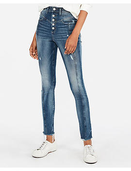 Super High Waisted Seamed Stretch+ Performance Jean Leggings by Express