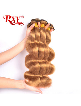 Rxy Honey Blonde Brazilian Hair Weave Bundles Body Wave 3pcs Lot #27 Color 100 Percents Human Hair Bundles Non Remy Hair Weaves Extension by Rxy