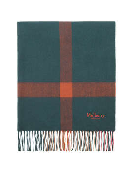 Mulberry Pure Lamb's Wool Check Scarf, Deep Sea by Mulberry